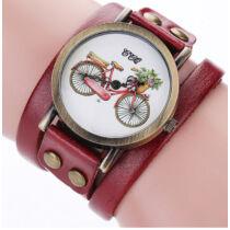 Kerékpáros karóra hosszú bőr pánttal vörös színben