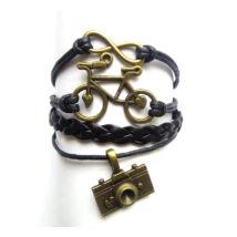 kerékpáros, fonott bőr karkötő