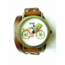 Kerékpáros karóra hosszú bőr pánttal barna