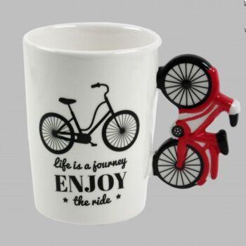 Kerékpáros, kerámia bögre bringa formájú füllel.