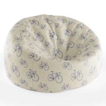 Babzsákfotel Krém színű   Kis Kerékpár Mintás