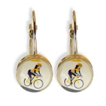 Kézzel készített kerékpáros lógó fülbevaló sárga színben