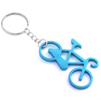 Világoskék kerékpár kulcsatartó