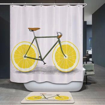 Kerékpáros, citromos zuhanyfüggöny