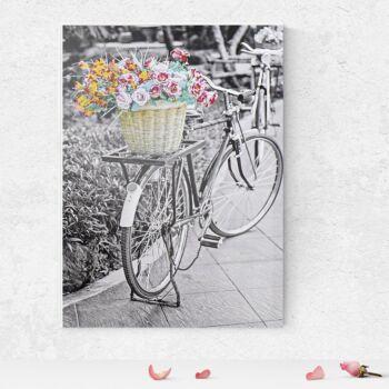 Kerékpár virággal vászonkép 50x70