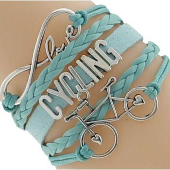 Love Cycling bőr karkötő kék