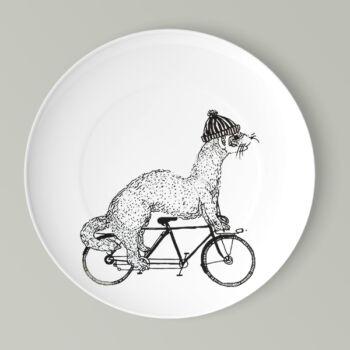 Kerékpáros lapos tányér görény mintával