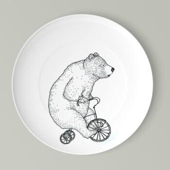 Kerékpáros lapos tányér medve mintával