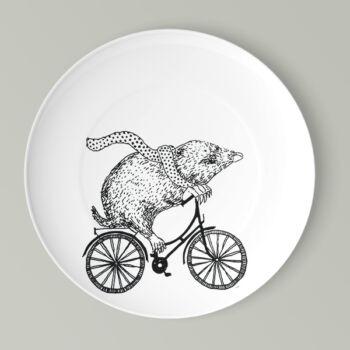 Kerékpáros lapos tányér vakond mintával