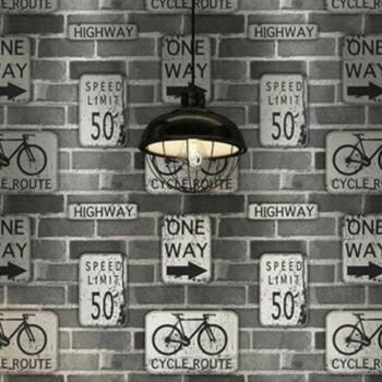 Cycle Route - Tapéta grafitszürke tégla mintás