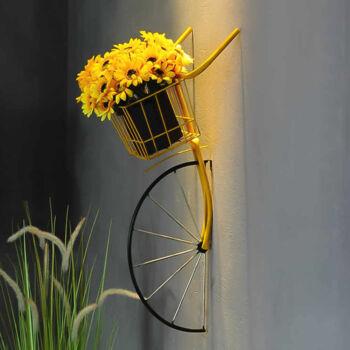 Fali virágtartó kerékpár - Sárga