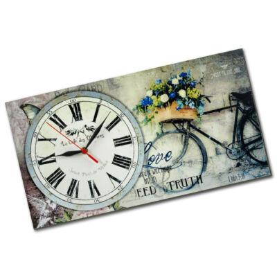 Kerékpáros, virágos falióra