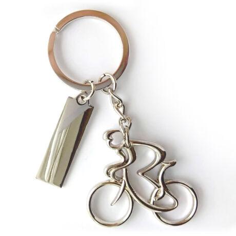 Gravírozható kerékpáros kulcstartó