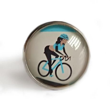 Kézzel készített kerékpáros gyűrű hölgyeknek kék színben