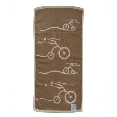 Kerékpáros konyhai törülköző barna színben