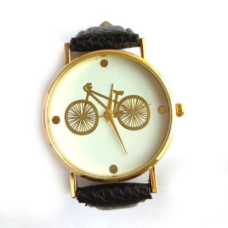 Kerékpáros óra arany fekete