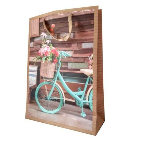 Kerékpáros ajándéktáska kék kerékpárral (nagy)