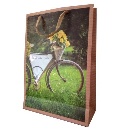 Kerékpáros ajándéktáska zöld feliratos kerékpárral (nagy)
