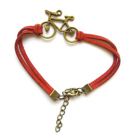 Piros bőr kerékpáros karkötő