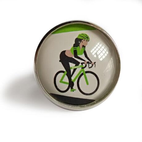 Kézzel készített kerékpáros gyűrű hölgyeknek zöld színben