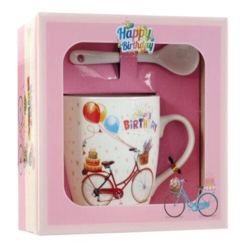 Születésnapi Biciklis Bögre + Kiskanál | Piros