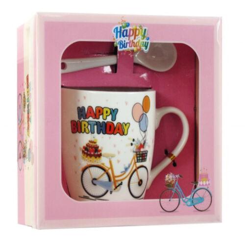 Születésnapi Biciklis Bögre + Kiskanál | Sárga