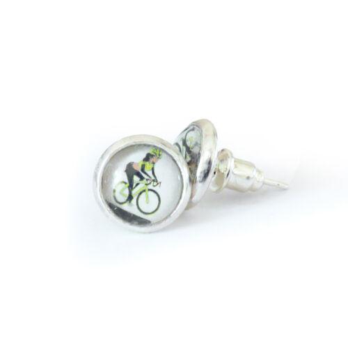 Kézzel készített kerékpáros fülbevaló citromsárga  színben