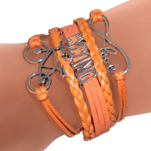 Love Cycling bőr karkötő narancs