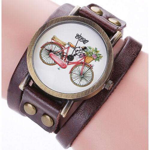 Kerékpáros karóra hosszú bőr pánttal barna színben