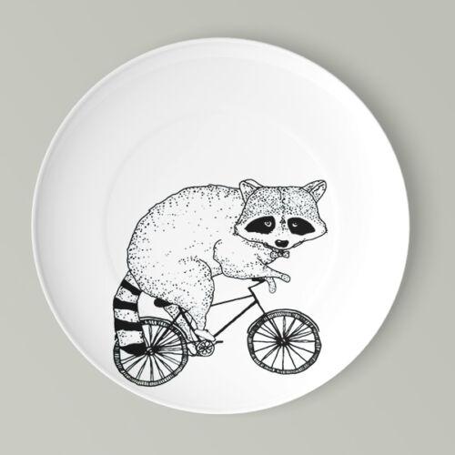 Kerékpáros lapos tányér mosómedve mintával