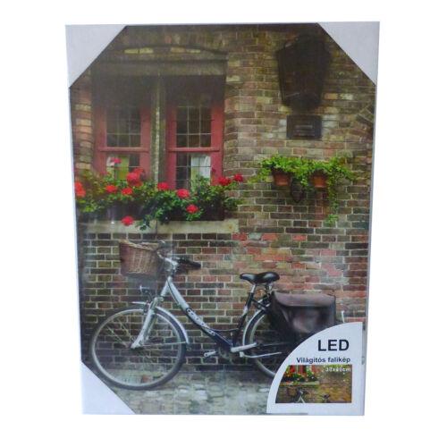 Biciklis világítós falikép